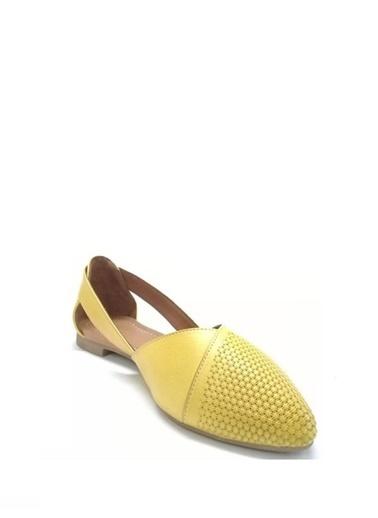 Ballerins Hakiki Deri El Yapımı Sarı Babet Blrs-2480 Sarı